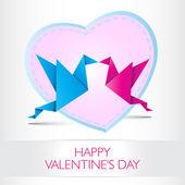 Two kissing origami birds. Love card concept Happy Valentines Da — Stockvector