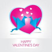 Two kissing origami birds. Love card concept Happy Valentines Da — Stock Vector