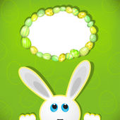 Easter bunny look up in blank space. Easter background. — Cтоковый вектор