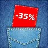 Blue back jeans pocket realistic denim texture with number perce — Vetor de Stock