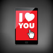 I love you valentine web, modern concept. High-quality smartphon — Stock Vector