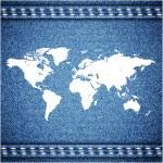 世界地图上牛仔裤背景纹理。矢量 — 图库矢量图片
