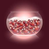 Hearts in an aquarium — Stock Vector