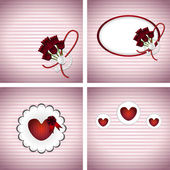 κάρτες με τουλίπες και καρδιές — Διανυσματικό Αρχείο