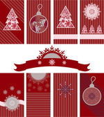 Christmas set in red colors — Stock Vector