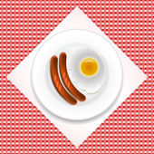 Fried eggs with sausage — Stock Vector