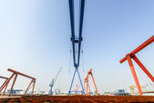 Shipbuilding gantry crane factory site — Stock Photo