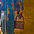 Stock Photo: Iron gate iron lock