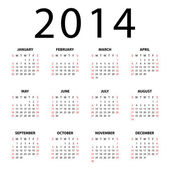 Calendar for 2014 on white background. — Stock Vector