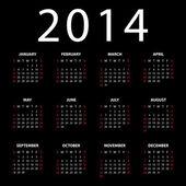 Calendar for 2014 on black background. — Stock Vector