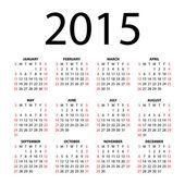 Calendar for 2015 on white background. — Stock Vector