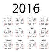 2016 年日历. — 图库矢量图片