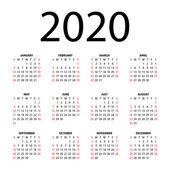 Calendar for 2020 on white background. — Stock Vector