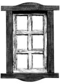 Old wooden saloon window. — Stock Photo