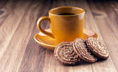 Colorful cup of coffee and cookies. — Stock Photo