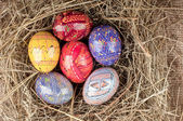 Colorful Easter eggs in nest from hay. — Stock Photo