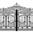 Forged gate. Architecture detail. — Vector de stock