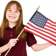 Young girl holding an American Flag — ストック写真