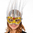 Young Caucasian Female Child Wearing a Masquerade Mask — Stockfoto