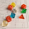 Multicolored Role Play Dice on a Hand Drawn Game Map — Stock Photo