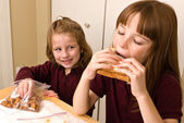 Young school girls eating a healthy lunch — Stock Photo