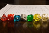 Multicolored Role Play Dice — Stock Photo