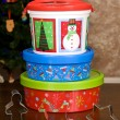 Christmas Holiday Cookie Containers and Cookie Cutters — Stock Photo