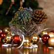 Glass Bowl of Pine Cones Covered with Glitter — Stock Photo