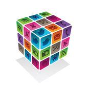 Sociale media kubus — Stockvector