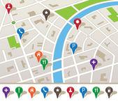 Plan de la ville avec des icônes de navigation — Vecteur