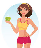 Healthy Fitness Girl — Stock Vector
