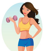 Cute girl exercising — Stock Vector