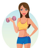 Girl exercising — Stock Vector