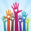 People giving support hand — Stock Vector