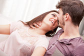 The look of love girl is fond of boy — Stock Photo