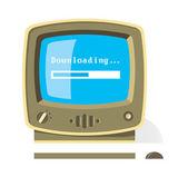 下载文件消息和进度栏在屏幕上的老式计算机 — 图库矢量图片