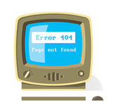 Vintage computer with Error 404 message on the screen — Stock Vector
