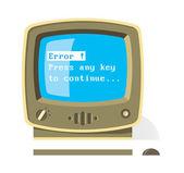 Vintage computer con messaggio di errore sullo schermo — Vettoriale Stock
