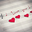 "Words ""I love you !"" in shape of music notes in the music note book — Stock Photo"