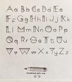 Vintage pop art style pencil hand drawn alphabet — Stock Photo