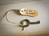 Key to my heart. Concept for love, relationship, friendship and loneliness — Stock Photo