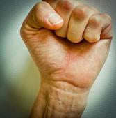 Vuist opgewekt. concept voor verandering, revolutie, rebellie, motivatie, actie — Stockfoto