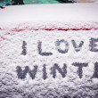 I love winter written in snow on car window — Stock Photo