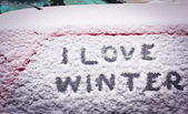 I love winter written in snow on car window — Stock Photo