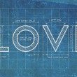 Stock Photo: Abstract love blueprint with love quotes