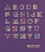 Vintage pop art style alphabet design. Pencil hand drawn with love — Stock Photo
