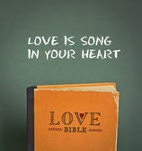 Love is song in your heart. Love Bible with love commandments, metaphors and quotes — Stock Photo