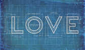 Abstract love blueprint with love quotes — Stock Photo