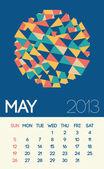 Stylish May 2013 calendar with vintage design — Stock Photo