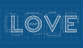 Abstract love blueprint with love quotes — Stock Vector